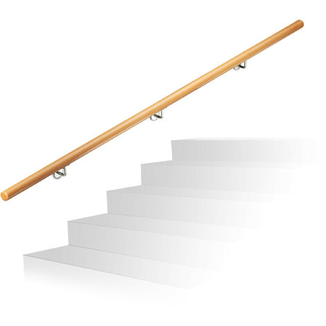 """main image of """"Relaxdays Wooden Handrail, Beech, 2000 mm/200 cm/2 m, Wall-Mount, With Plugs, Rustic 42 mm Diameter, Natural Banister"""""""
