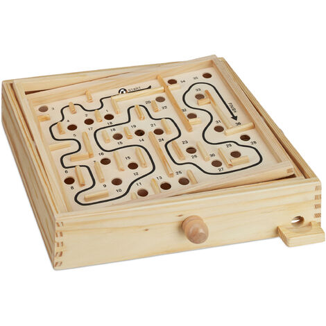 Relaxdays Wooden Labyrinth Game with 2 Balls, Strategy, Balance XL Board Game, 3 Years & Up, Natural