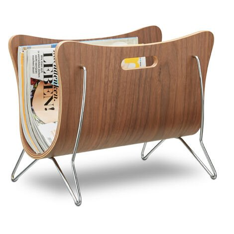Relaxdays Wooden Newspaper Stand, Bentwood, Magazine Rack, Modern Design, Robust, with Handles, HxWxD: 30 x 37 x 25 cm, Brown