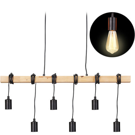 Relaxdays Wooden Pendant Lamp, 6-Spot Hanging Light, Rustic Vintage Look, E27, Retro Dining Room Lighting, Black/Natural