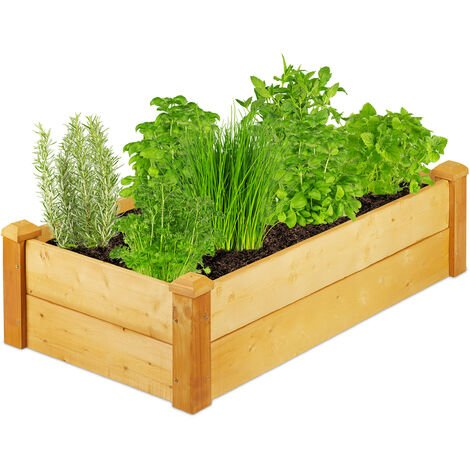 Relaxdays wooden raised bed, rectangular garden planter, 111 x 60 x 29.5 (LxWxH), grow plants & flowers, natural finish