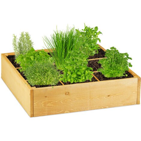 """main image of """"Relaxdays wooden raised bed, square, 9 compartments, fleece liner, cold frame for garden, patio, 60x60x15 cm (LxWxH)"""""""