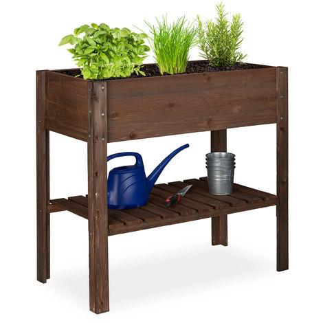 Relaxdays Wooden Raised Garden Bed, Shelf, Balcony Planter Box, Patio & Garden, HWD 80 x 88 x 43.5 cm, Dark Brown