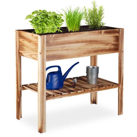 Relaxdays Wooden Raised Garden Bed, Shelf, Balcony Planter Box, Patio & Garden, HWD 80 x 88 x 43.5 cm, Flamed
