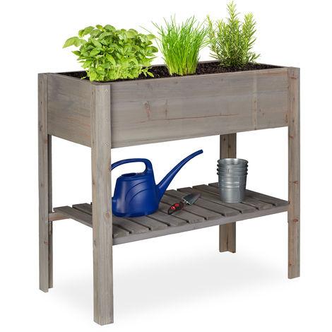 Relaxdays Wooden Raised Garden Bed, Shelf, Balcony Planter Box, Patio & Garden, HWD 80 x 88 x 43.5 cm, Grey