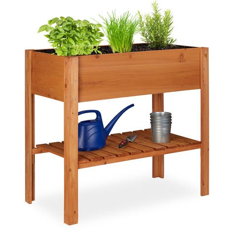 Relaxdays Wooden Raised Garden Bed, Shelf, Balcony Planter Box, Patio & Garden, HWD 80 x 88 x 43.5 cm, Light Brown