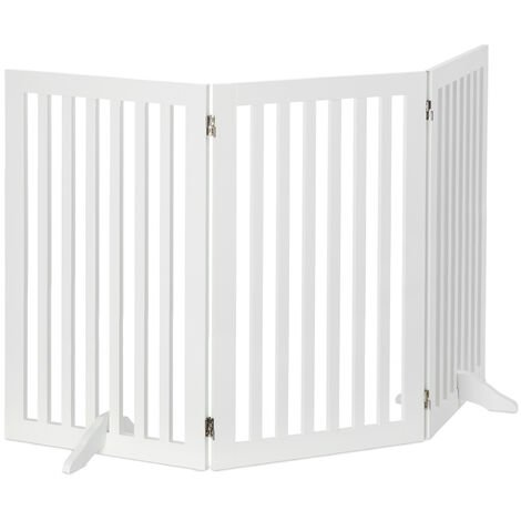 Relaxdays Wooden Safety Barrier, Adjustable Gate for Dogs & Children, Fireplace & Oven, 91.5x154cm, White