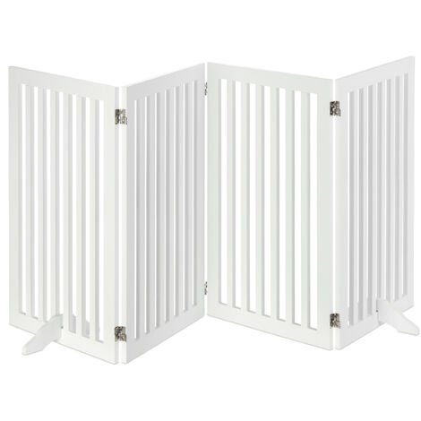 Relaxdays Wooden Safety Barrier, Adjustable Gate for Dogs & Children, Fireplace & Oven, 91.5x204.5 cm, White