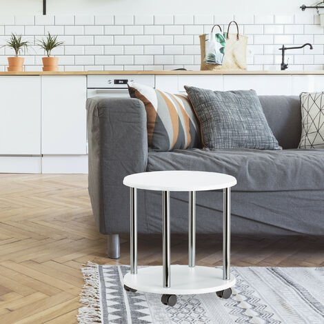 Relaxdays Wooden Side Table, Multipurpose Cart on 4 Castors, Small Coffee Table & Kitchen Trolley, Round, HWD: 41.5 x 40 x 40 cm, White