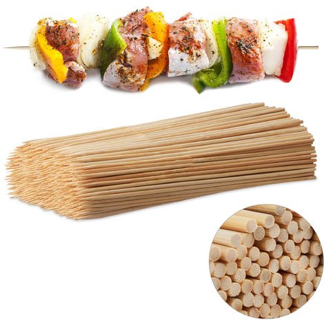 Relaxdays Wooden Skewers, Bamboo Trussing Needles Pack of 500, BBQ or Crafting Accessory, 30 cm Long, 3 mm Thick, Natural