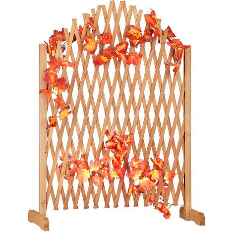 Relaxdays Wooden Trellis, Extendable, Freestanding, Garden Lattice, Balcony Climbing Aid, HxWxD: 100 x 165 x 30 cm, Brown