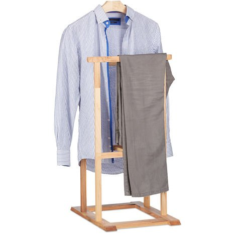 Relaxdays Wooden Valet, Coat Rack for Crease-Free Suit, Walnut Butler Coat Stand HxWxD 102 x 47 x 50 cm, Natural