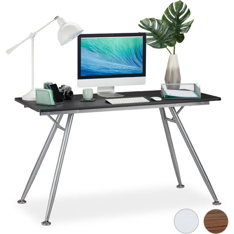 Relaxdays Writing Desk, Modern Design for Kids' Rooms & Office, Large Surface, HWD: 77 x 135 x 60 cm, Black