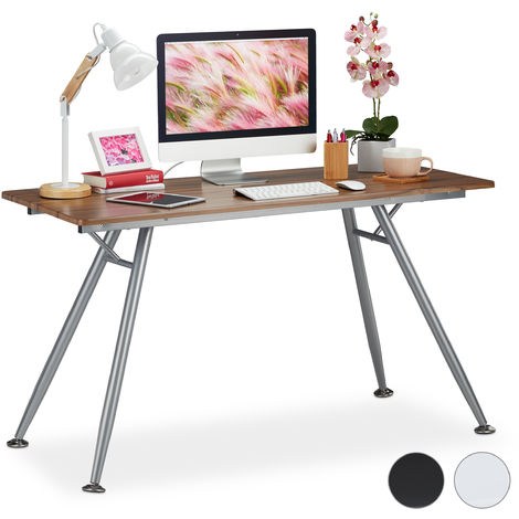 Relaxdays Writing Desk, Modern Design for Kids' Rooms & Office, Large Surface, HWD: 77 x 135 x 60 cm, Brown