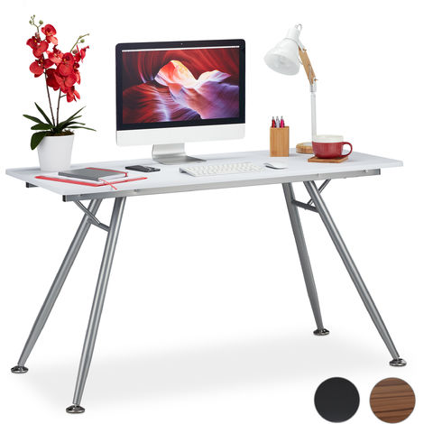 Relaxdays Writing Desk, Modern Design for Kids' Rooms & Office, Large Surface, HWD: 77 x 135 x 60 cm, White