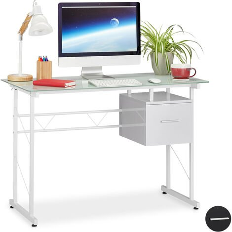 Relaxdays Writing Desk, Modern Office Table with Glass Tabletop and Side Drawer, HWD 75 x 110 x 55 cm, White