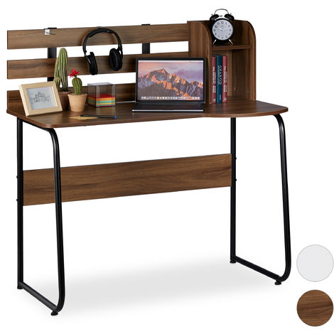 Relaxdays Writing Desk with 2 Compartments and Back Panel, Studying Table for Students, HWD 110x110x57 cm, Brown/Black