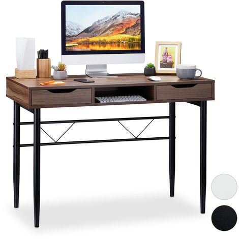 Relaxdays Writing Desk with Drawers & Compartment, Modern, Metal Frame, Office Desk HWD 77x110x55 cm, Brown-Black