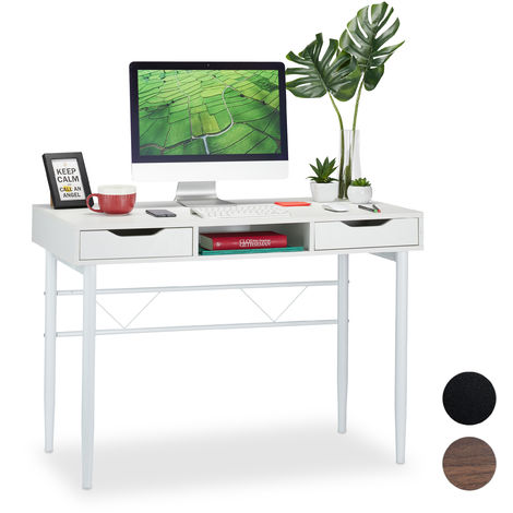 Relaxdays Writing Desk with Drawers & Compartment, Modern, Metal Frame, Office Desk HWD 77x110x55 cm, White
