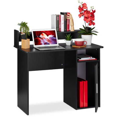 Relaxdays Writing Desk with Storage Space, Side Compartment & Shelving, Compact, HWD 96 x 100 x 50 cm, Black
