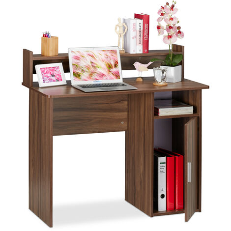 Relaxdays Writing Desk with Storage Space, Side Compartment & Shelving, Compact, HWD 96 x 100 x 50 cm, Brown