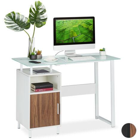 Relaxdays Writing Desk,Glass Work Surface, 2 Shelves, Home Office, Bedroom, Office Desk, 76.5x110x55 cm, White