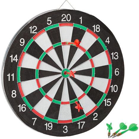 Relaxdays X2 Dartboard with Darts, 43 cm, 6 x Darts, Two-Sided, Steel Darts, Classic Dartboard, Black-White