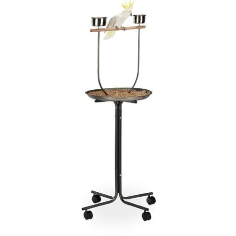 Relaxdays XL Activity Centre For Parrots, Approach Rod, 2 Bowls, Mobile, Cockatiel, HWD: 130 x 60 x 60 cm