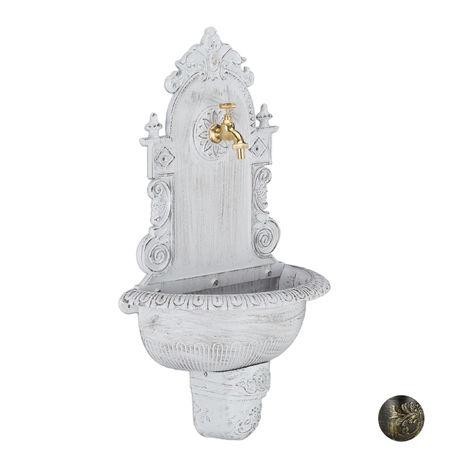 Relaxdays XL Antique Wall Water Fountain, Faucet, Nostalgic, Garden Basin, Cast Aluminium, HWD 75x44x22 cm, White