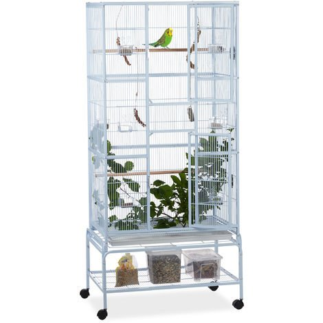 Relaxdays XL Aviary on Casters, Birdcage for Budgies & Canaries, 2 Perches, 180x80x50cm, Light Grey