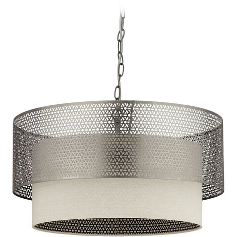 Relaxdays XL Ceiling Light, 3-Socket Dining Room Lamp, Round Lampshades, E27, Iron & Linen, 57.5 cm D, Silver