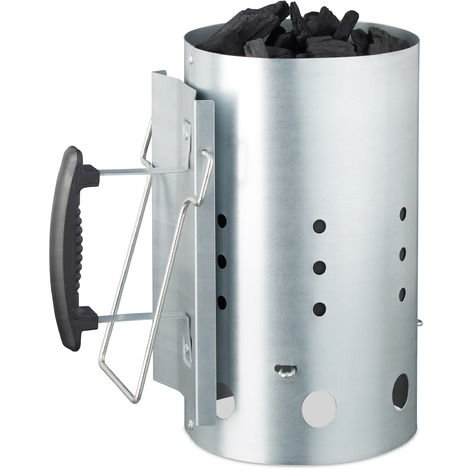 Relaxdays XL Charcoal Chimney Starter, Steel, BBQ Lighter, Stove, Grill, H x Dia: 30 x 19 cm, Grill Ignition, Silver