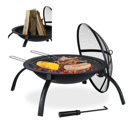 Relaxdays XL Fire Pit, Grate, Poker, Spark Screen, Lid, Garden, Patio, Fire Bowl D 56.5 cm, Black