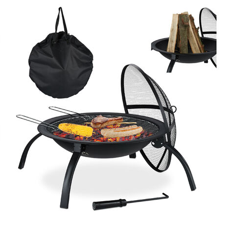 Relaxdays XL Fire Pit, Grate, Poker, Spark Screen, Lid, with Bag, Garden, Patio, Fire Bowl D 56.5 cm, Black