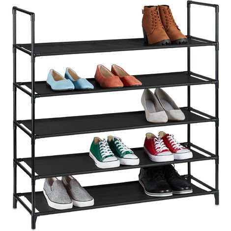 Relaxdays XL plug-in shoe rack, 5 tiers, space for 20 pairs of shoes, shoe storage, 30x87.5x90.5cm, black shoe organiser