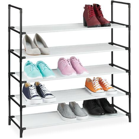 Relaxdays XL plug-in shoe rack, 5 tiers, space for 20 pairs of shoes, shoe storage, 30x87.5x90.5cm, white shoe organiser