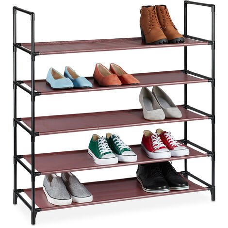 Relaxdays XL plug-in shoe rack, 5 tiers, space for 20 pairs of shoes, storage, 30x87.5x90.5cm, burgundy shoe organiser