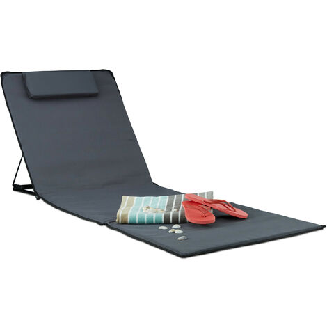 Relaxdays XXL Beach Mat, Padded Sun Lounger with Pillow Folding Recliner with Travel Bag, Anthracite