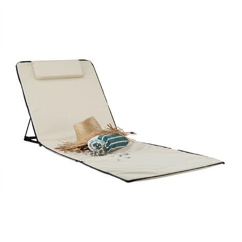 Relaxdays XXL Beach Mat, Padded Sun Lounger with Pillow Folding Recliner with Travel Bag, Beige