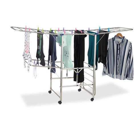 Relaxdays XXL Clothes Drying Rack, Standing, Tower Airer on Wheels, Foldable, HWD 111 x 185.5 x 53 cm, Silver