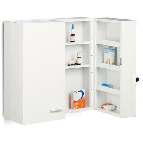 Relaxdays XXL Medicine Cabinet, Premium Locking w/ 2 Doors, 11 Compartments, HxWxD: 53 x 53 x 20 cm, First Aid Cupboard, White