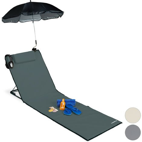 Relaxdays XXL Padded Beach Mat with Parasol, Adjustable, Cushion & Carrier Bag, Portable, Anthracite