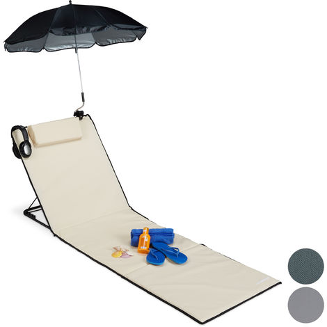 Relaxdays XXL Padded Beach Mat with Parasol, Adjustable, Cushion & Carrier Bag, Portable, Beige