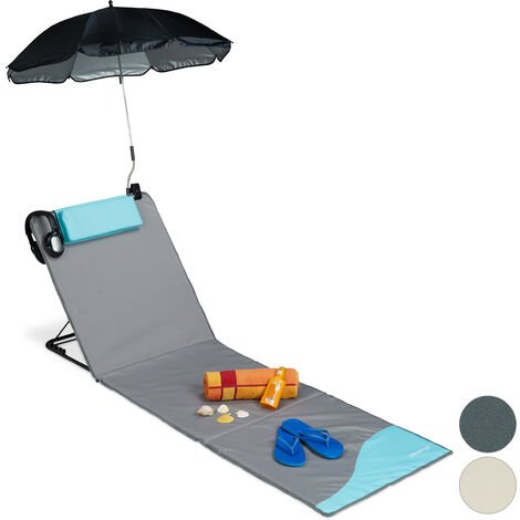 Relaxdays XXL Padded Beach Mat with Parasol, Adjustable, Cushion & Carrier Bag, Portable, Grey