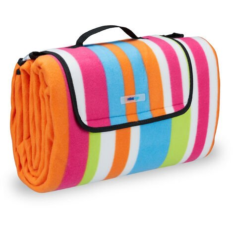 Relaxdays XXL Picnic Blanket, Aluminium Coating, Folding Beach Rug with Handle, 200x200 cm, Striped