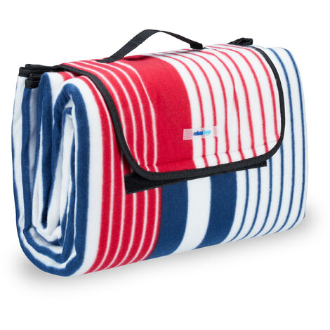 Relaxdays XXL Picnic Blanket, Aluminium Coating, Folding Beach Rug with Handle, 200x200 cm, Striped, Red-Blue