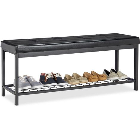 Relaxdays XXL Shoe Bench, Faux Leather Seat, Backless, Grid Rack for Shoes, Metal, HWD 49x115x40cm, Black