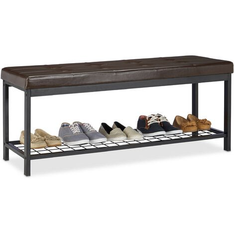 Relaxdays XXL Shoe Bench, Faux Leather Seat, Backless, Grid Rack for Shoes, Metal, HWD 49x115x40cm, Brown