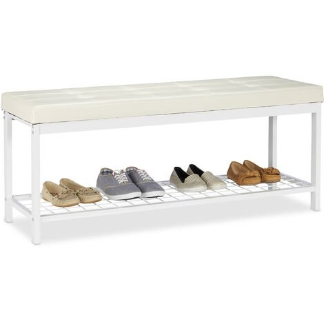 Relaxdays XXL Shoe Bench, Faux Leather Seat, Backless, Grid Rack for Shoes, Metal, HWD 49x115x40cm, White
