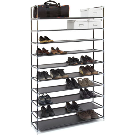 Relaxdays XXL Shoe Shelf For 50 Pairs of Shoes, 175.5 x 100 x 29 cm, Fabric and Metal, 10-Shelves, Black